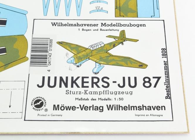 WHV Modellbaubogen 1808 (1:50) - Junkers-Ju 87 Sturz-Kampfflugzeug
