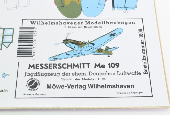 WHV Modellbaubogen 1809 (1:50) - Messerschmitt Me 109 Jagtflugzeug
